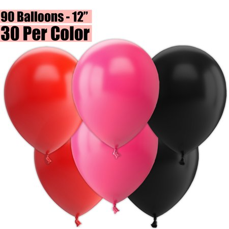 12 Inch Party Balloons, 90 Count - Red + Fuchsia + Black - 30 Per Color. Helium Quality Bulk Latex Balloons In 3 Assorted Colors - For Birthdays, Holidays, Celebrations, and More!!](90 Birthday Ideas)