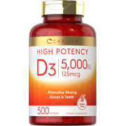 Vitamin D3 5000 IU 500 Softgels   Huge Size   Non-GMO, Gluten Free Supplement   By Carlyle