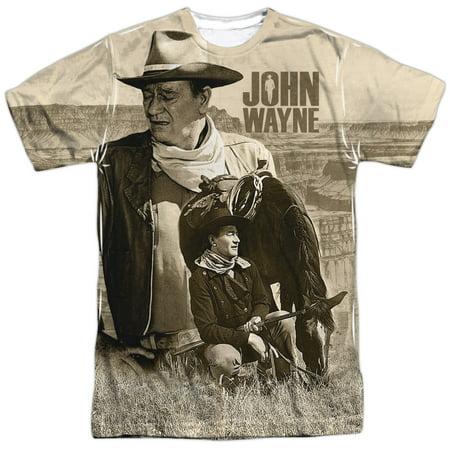 John Wayne Stoic Cowboy (Front Back Print) Mens Sublimation Shirt (John Wayne Cowboy Shirt)
