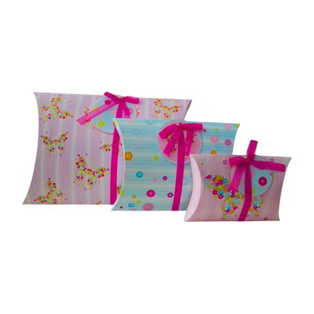 Birthday Gifts Button - Gift Wrapping Box Pillow Pouch (Set of 3, Large, Medium and Small) And Matching Gift Tags for Small Gifts, Favors, Presents, Jewelry, Scarves, Weddings, Birthday -Great With Tissue Paper (Buttons) But