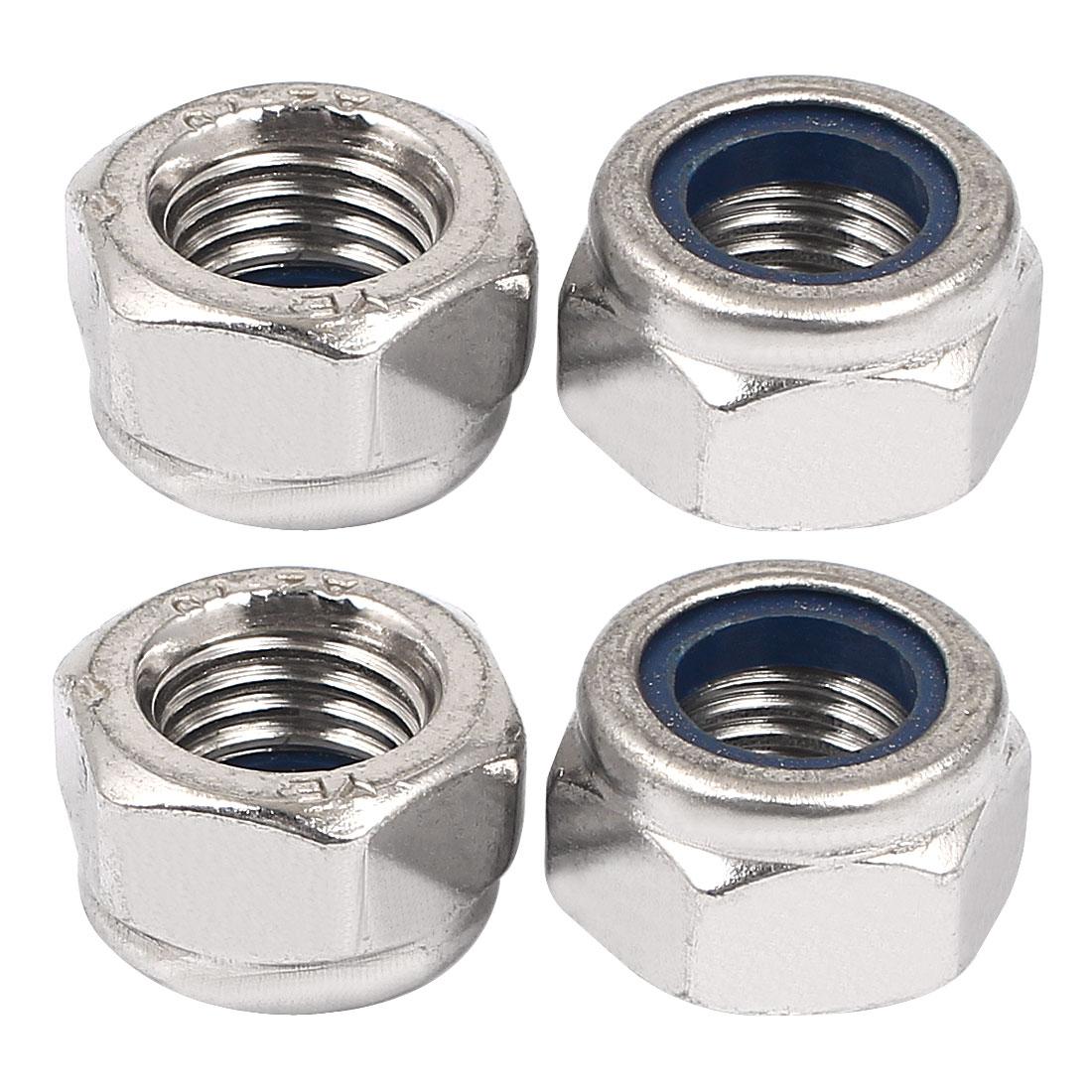 Unique Bargains M12 Thread 1.5mm Pitch Nylock Self-Locking Nylon Insert Hex Lock Nuts 4pcs