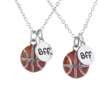 Lux Accessories Silvertone Basketball Sport Best Friends BFF Charm Necklaces 2PC (Basketball Necklaces)