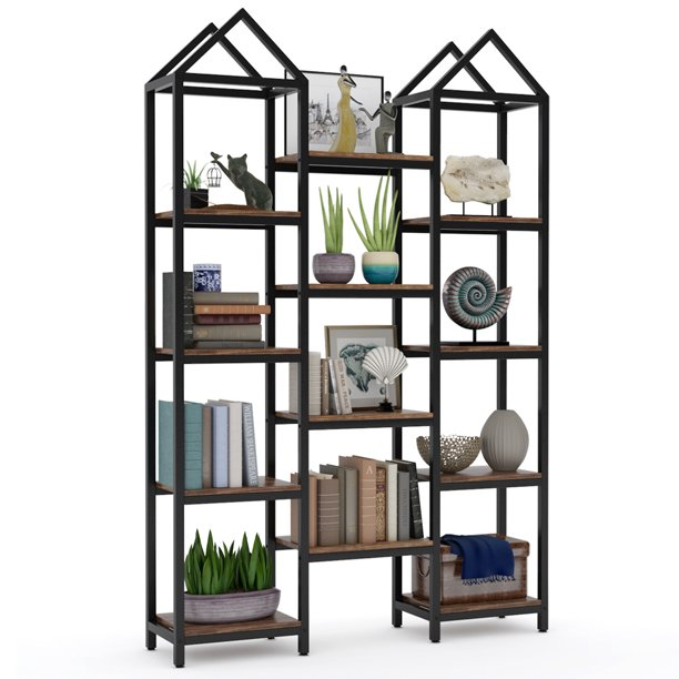 Tribesigns Rustic Triple Wide Bookshelf, 12 Open Shelves Etagere