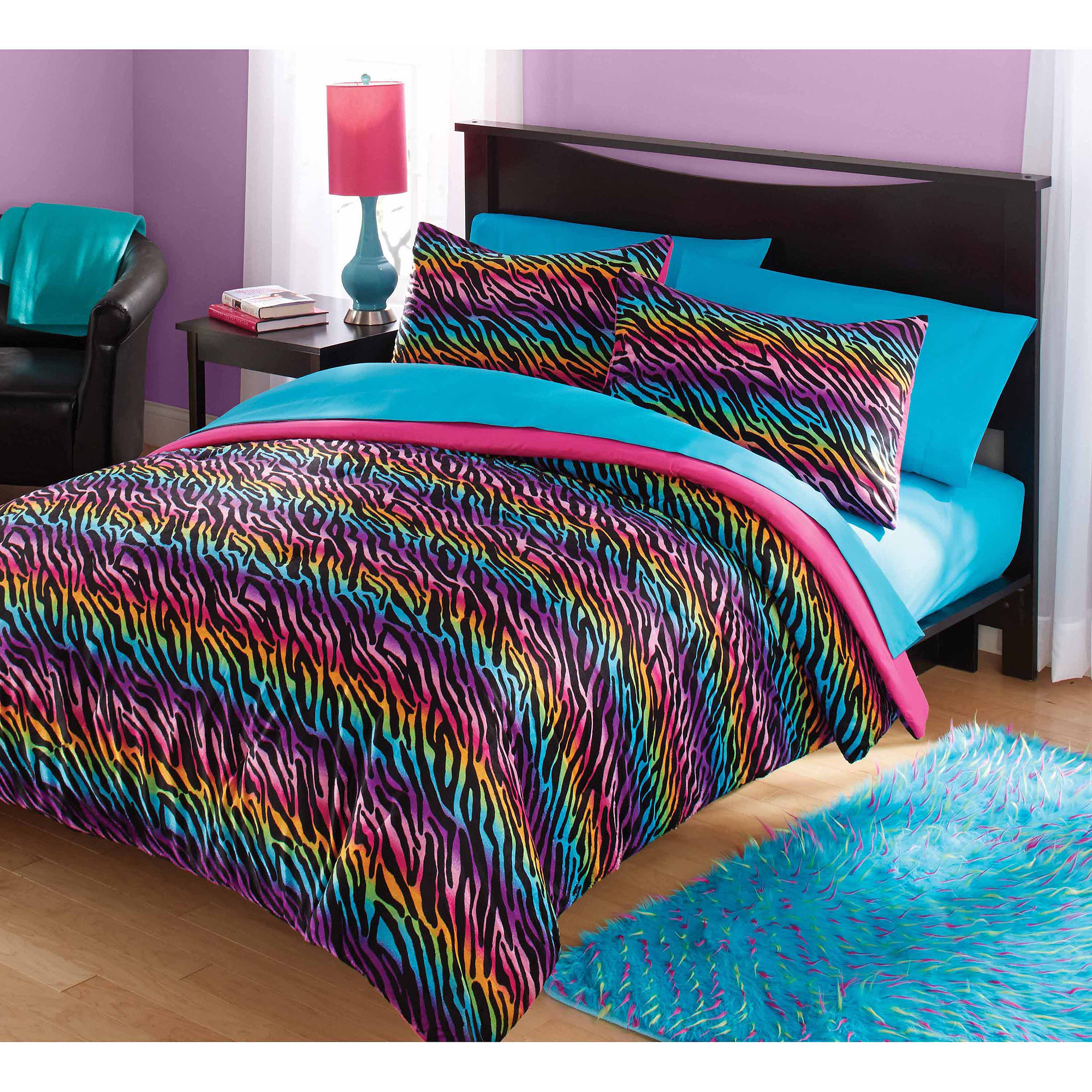 Your Zone Mink Rainbow Zebra Bedding Comforter Set   Walmart.com