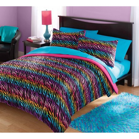 Your Zone Mink Rainbow Zebra Bedding Comforter Set