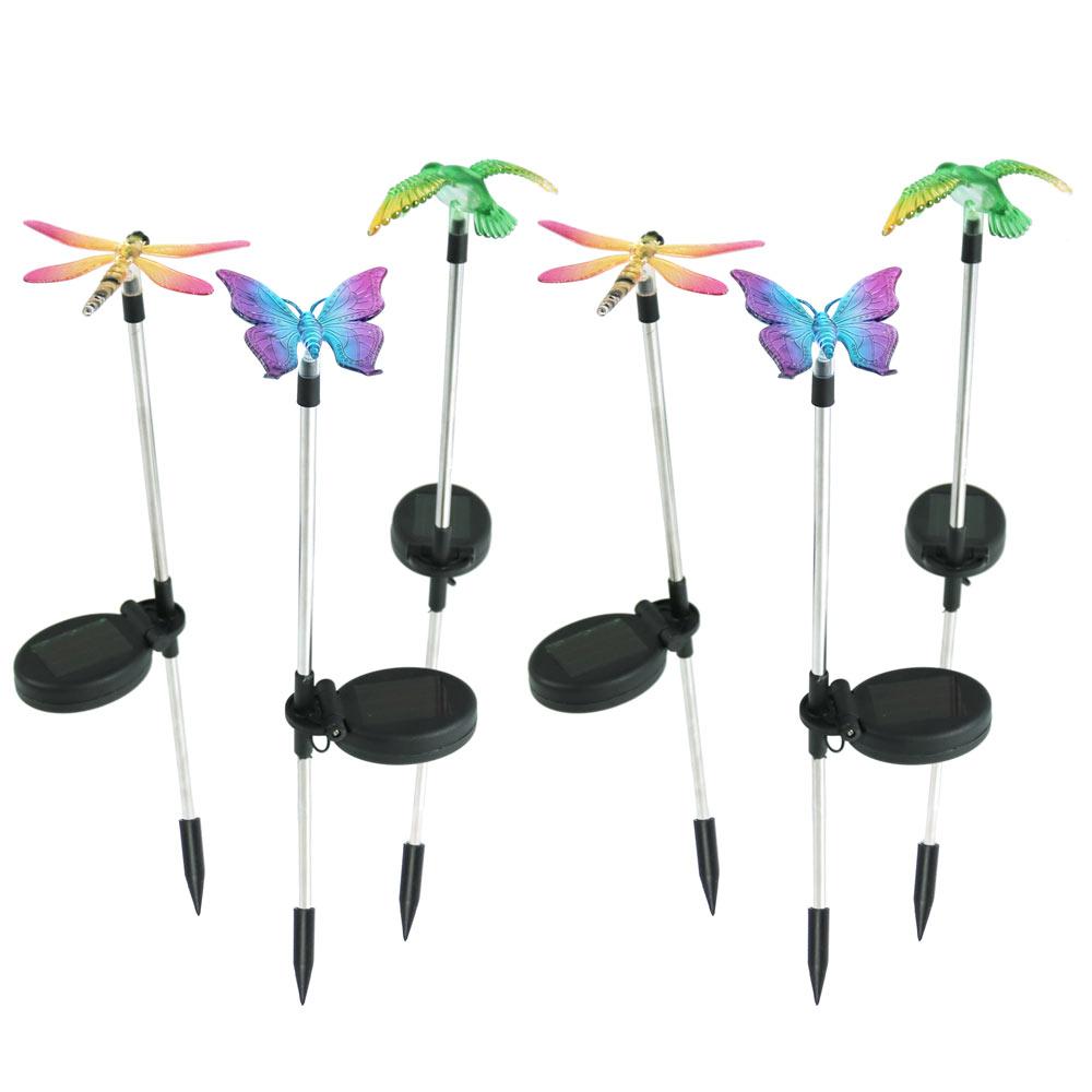 Sunnydaze Solar Powered Butterfly Dragonfly Hummingbird Stake LED Light Set of 6,... by Sunnydaze Decor