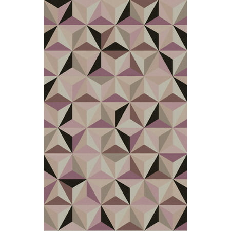 2' x 3' Forever Diamonds Mystic Purple, Light Gray and Ivory Wool Area Throw Rug ()
