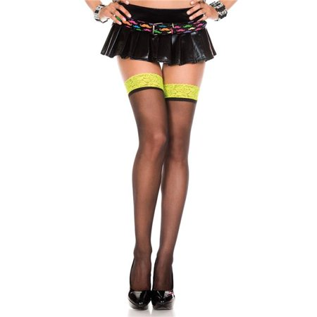 4106-BLK-NYELLOW Contrast Lace Top Sheer Thigh High Stockings, Black & Neon Yellow