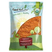 Organic Red Split Lentils, 15 Pounds - Dry Beans, Non-GMO, Kosher, Raw, Masoor Dal, Bulk by Food to Live