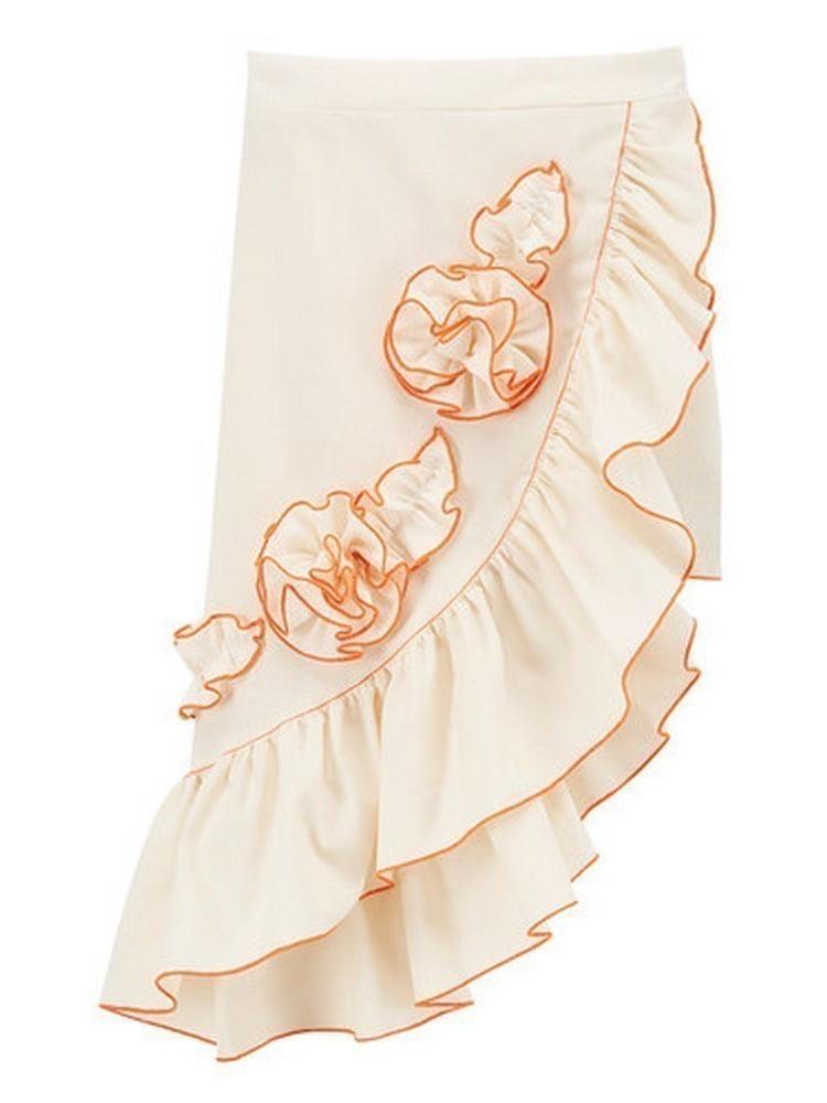 Baby Girls Ivory Orange Rosette Accent Asymmetric Hem Ruffle Skirt 1T
