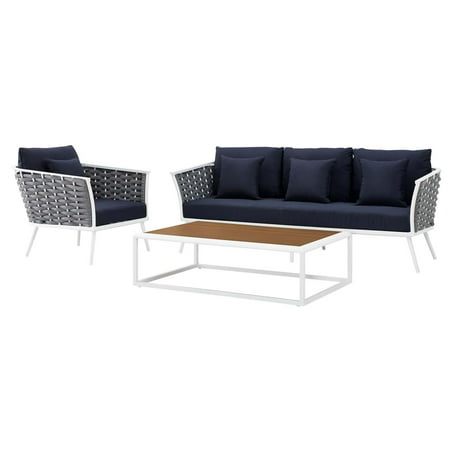 Modern Contemporary Urban Design Outdoor Patio Balcony Garden Furniture Lounge Chair, Sofa and Table Set, Fabric Aluminium, White Navy