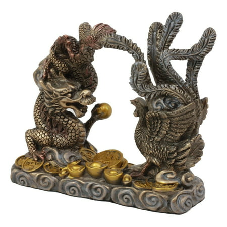 Ebros Feng Shui Yin And Yang Harmony Golden Prosperity Dragon And Phoenix Talisman Figurine 6