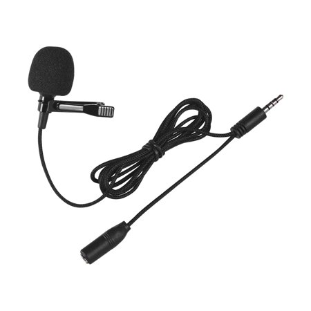 Mini Clip-on Lapel Lavalier Condenser Microphone Mic with 3.5mm Headphone Output Jack for iPhone iPad Android Smartphone DSLR Camera Computer PC