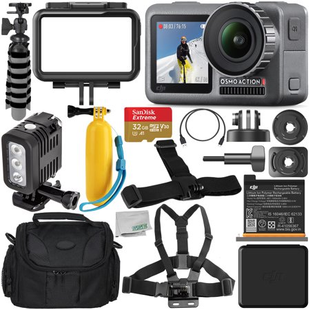 DJI Osmo Action 4K Camera with 32GB Underwater Starter Accessory Bundle – Includes: SanDisk Extreme 32GB microSDHC Memory Card + Carrying Case + Underwater LED Light + Floating Handle +