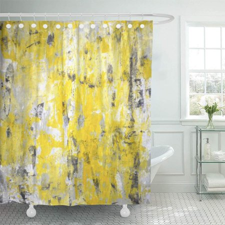 PKNMT White Acrylic Grey and Yellow Abstract Painting Contemporary Gallery Interior Knife Shower Curtain Bath Curtain 66x72 inch - Yellow Shower