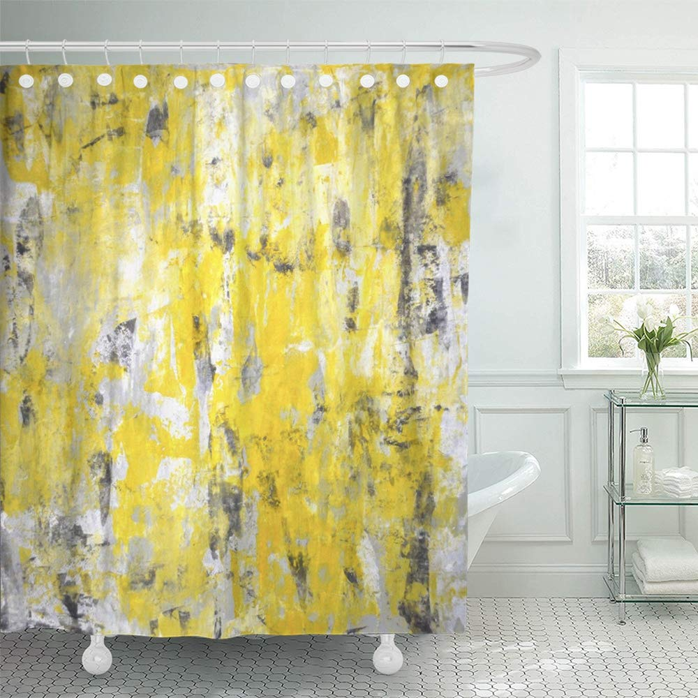 PKNMT White Acrylic Grey and Yellow Abstract Painting Contemporary Gallery Interior Knife Shower Curtain Bath Curtain 66x72 inch