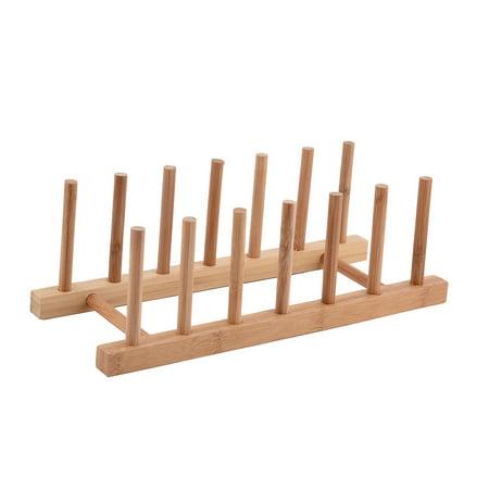 Uxcell Kitchen Wood Dish Bowl Plate Storage Organizer Drying -