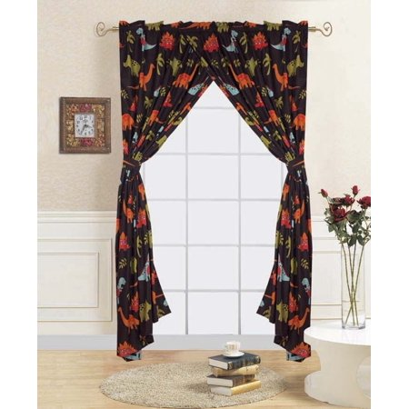 "4-PC DINOSAUR BROWN Kids Bedroom Window Panel Pair, Set of Two Rod Pocket Curtains 38""in Wide x 84""in Length (Each) with Matching Tie Backs"