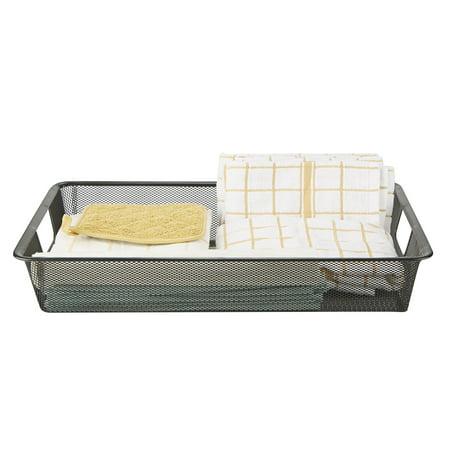 Mind Reader Small Storage Basket with Handles, Storage Bin, Organizer Bin,  Bathroom, Bedroom, Office, Black