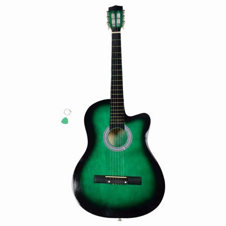 Clearance! 38 Inch Cutaway Beginner Acoustic Guitars with Guitar Plectrum, Green 38' Acoustic Cutaway Guitar