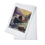 National Sportsman Two Men Canoeing on a River (100% Cotton Kitchen Towel) by Lantern Press