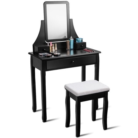 Gymax Vanity Dressing Table Set Mirror Desk Furniture Stool W 3 Drawer Black