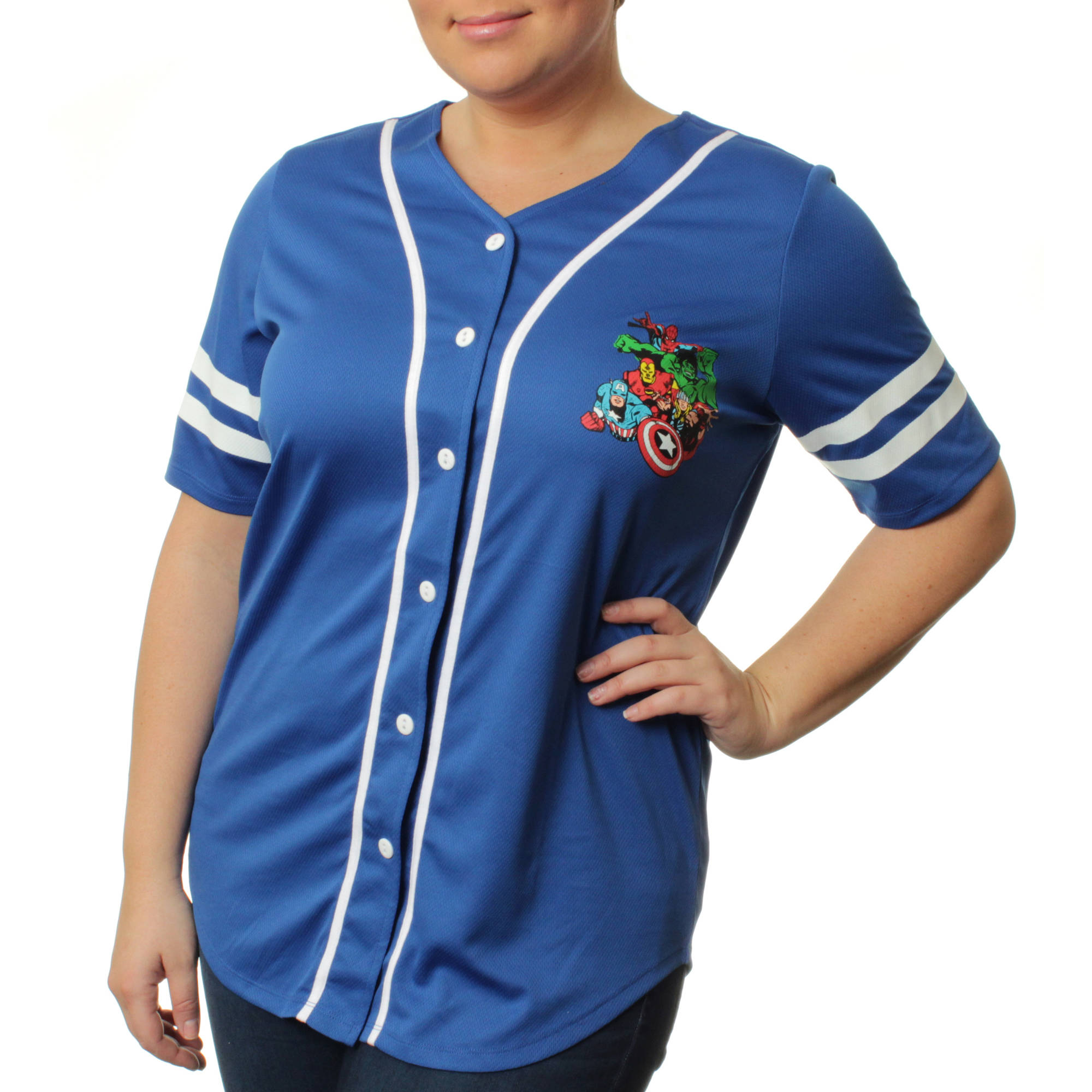 Marvel Women's Plus Button Front Athletic Mesh Baseball Shirt
