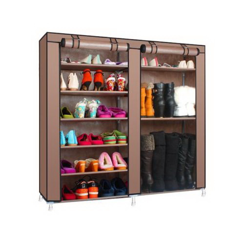Zimtown Double Shoe Closet Rack Shelf Storage Organizer Cabinet 9 Layer  Coffee