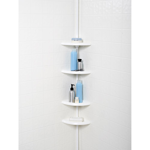 Tension Pole Corner Shower Caddy mainstays 4-tier tub and shower tension pole caddy, white