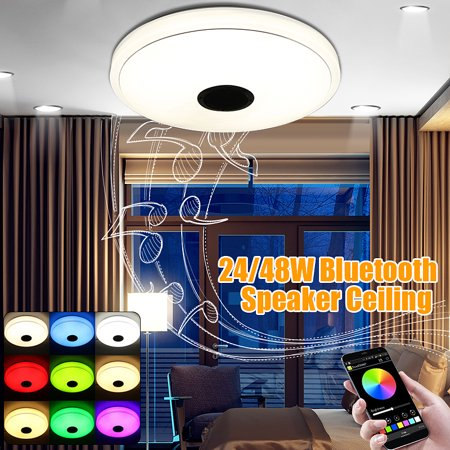 48W LED Music Ceiling Lighgt 36 LED bluetooth Speaker, Flush Mount Modern Ceiling Down Light Lamp Fixture, APP Remote Control, Home Decor Wedding Party Bedroom Living Room 110V/22 (Ceiling Decor)