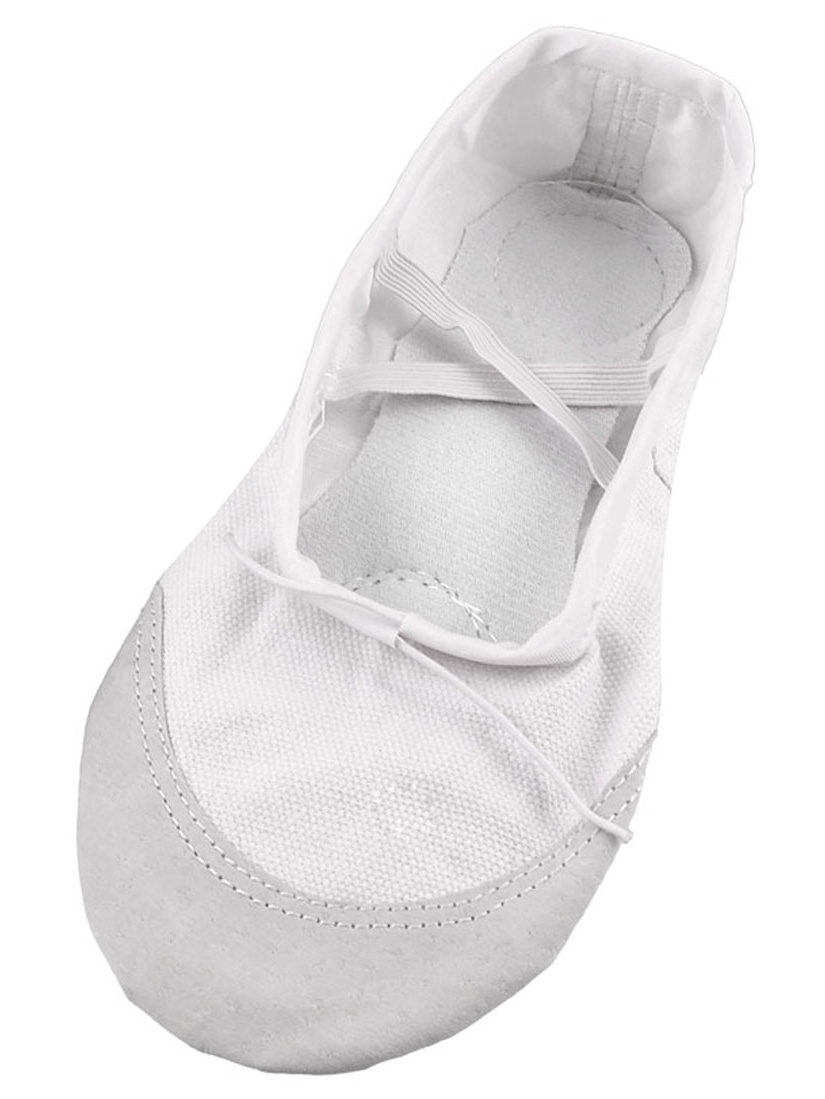 Unique Bargains White Faux Leather Split Sole Canvas Ballet Flats Shoes UK Size 3 for Lady