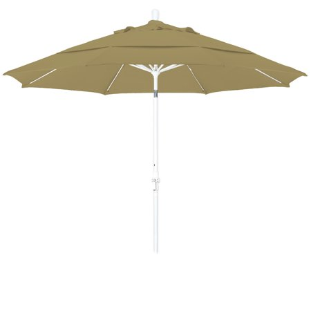 Fiberglass Matt White Manual Screen (Eclipse Collection 11 Fiberglass Market Umbrella Collar Tilt DV Matted White/Sunbrella/Heather Beige)