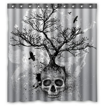 GCKG Creative Skull Tree Black Eagle Waterproof Polyester Shower Curtain and Hooks Size 66x72 inches
