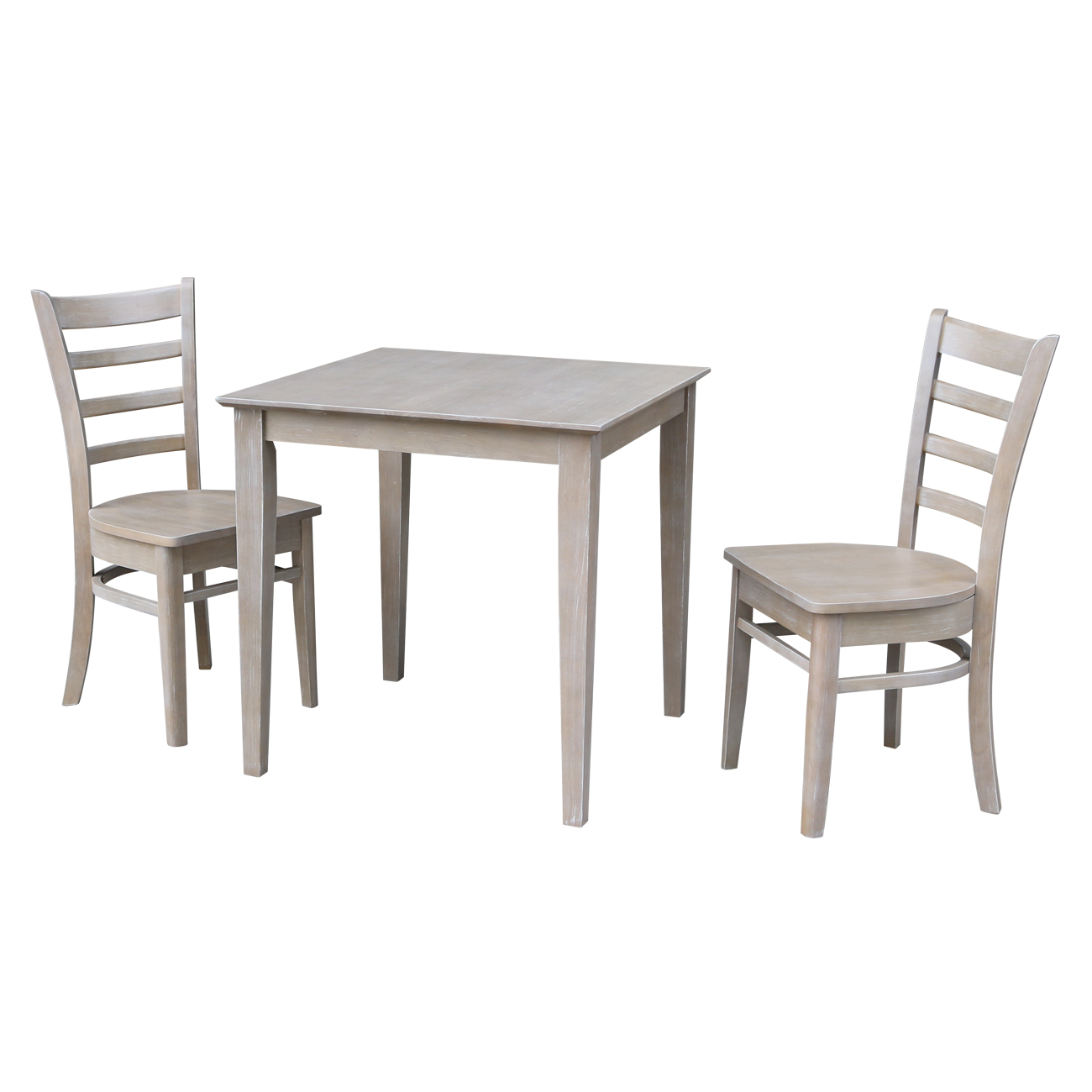 """30"""" x 30"""" Wood Dining Table and 2 Emily Chairs in Washed Gray Taupe-Set of 3"""