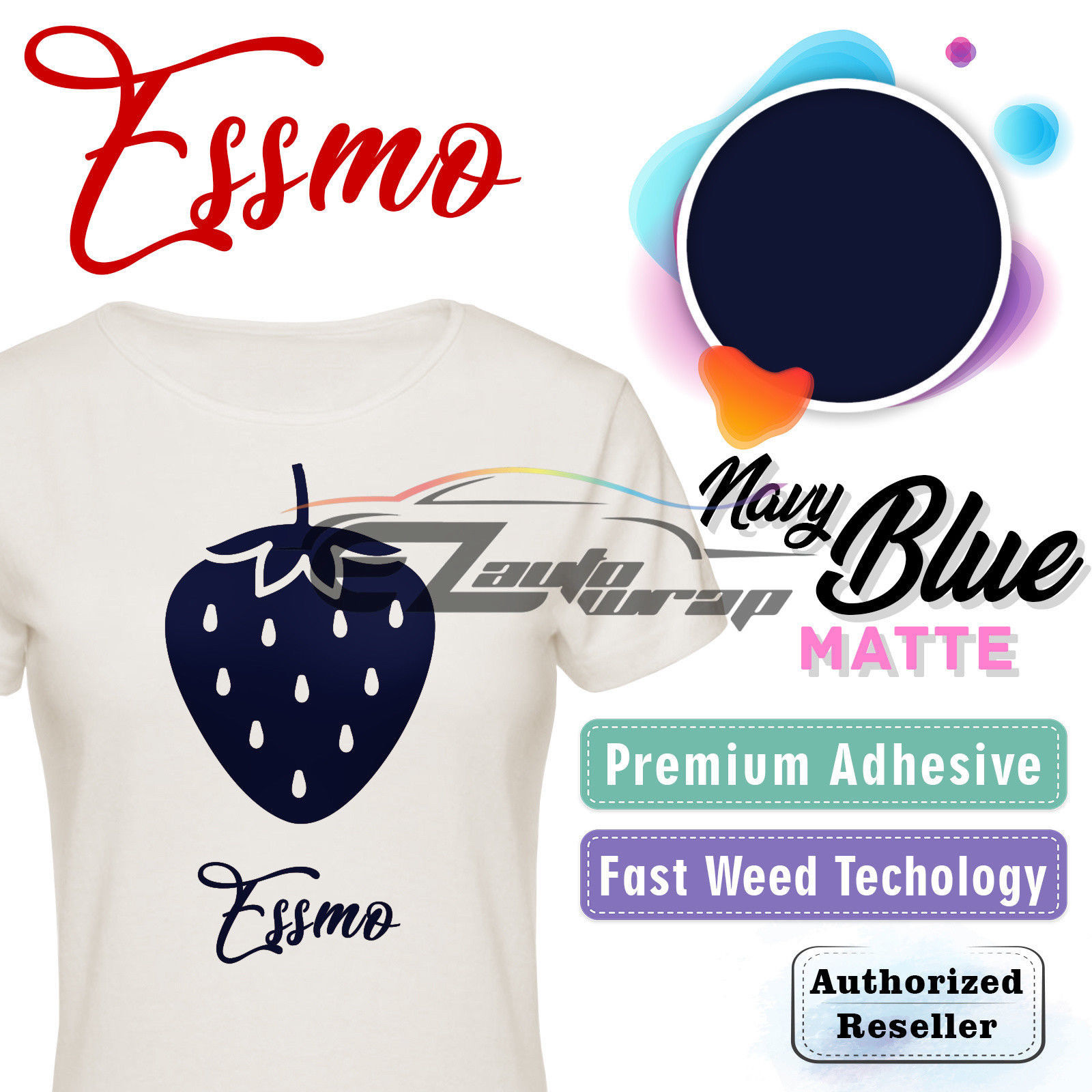 "ESSMO Navy Blue Matte Solid Heat Transfer Vinyl HTV Sheet T-Shirt 20"" Wide Iron On Heat Press 20""x12"""