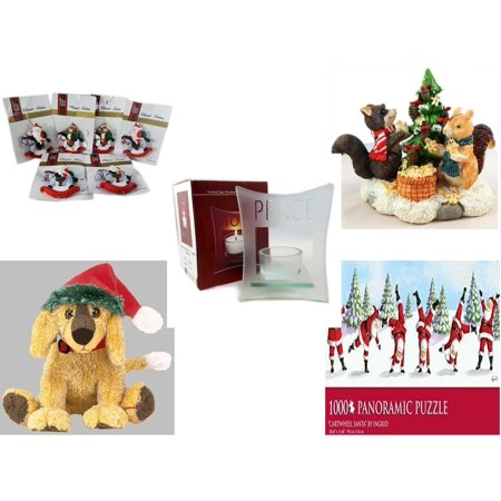 "Christmas Fun Gift Bundle [5 Piece] - Brite Star Classic Trims Rocking Horse Ornament Set of 6 - Forest Friends Gingerbread Tree Resin Figurine - Etched Glass ""Peace"" Window Votive  - Ty Beanie Babi"