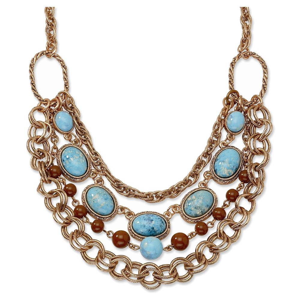 Copper-tone Aqua & Brown Beads Multistrand 16in w/Ext Necklace