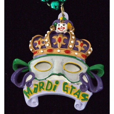 Crown with Gray Mask Bead Necklace New Orleans Mardi Gras Spring Break Cajun Carnival Festival, Colorful Authentic Premium Mardi Gras Bead.., By Mardi Gras World Ship from US (Mask Store New Orleans)