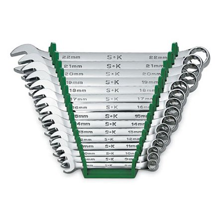 SK Hand Tool 86265 15 Piece 12 Point Metric Combination Chrome Wrench Set 20mm 12 Point Combination Wrench