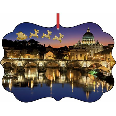 Santa Klaus and Sleigh Riding Over Vatican City Elegant Aluminum SemiGloss Christmas Ornament Tree Decoration - Unique Modern Novelty Tree Décor Favors](Pool City Christmas Decorations)