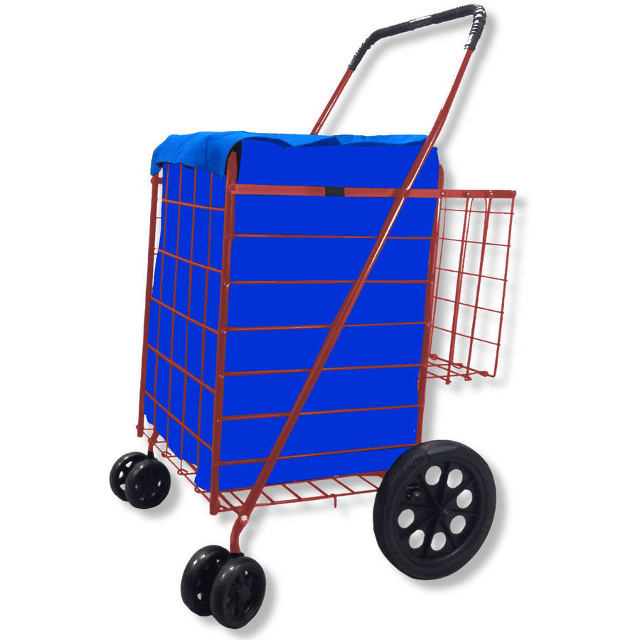 360-Degree Easy Rotation Folding Shopping Cart Double with Basket, Jumbo Swivel Wheel, Free Liner and Net, Blue with Red Liner