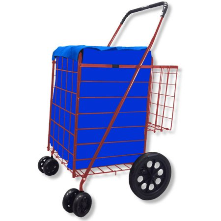 360 Degree Easy Rotation Folding Shopping Cart Double With Basket  Jumbo Swivel Wheel  Free Liner And Net  Blue With Red Liner