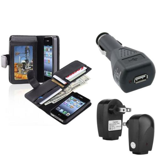 Insten Wallet Card Holder Leather Case+Car+Travel Charger Accessory For iPhone 4 4G 4S