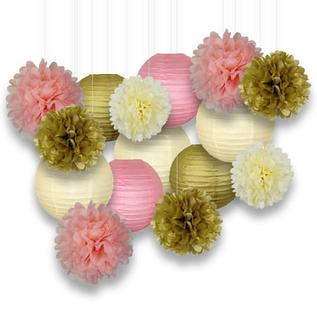 Party Pom Poms (Just Artifacts Decorative Paper Party Pack (15pcs) Paper Lanterns and Pom Pom Balls - Gold/Ivory/Pinks - Perfect for Birthday Parties, Baby Showers, Weddings and Life)