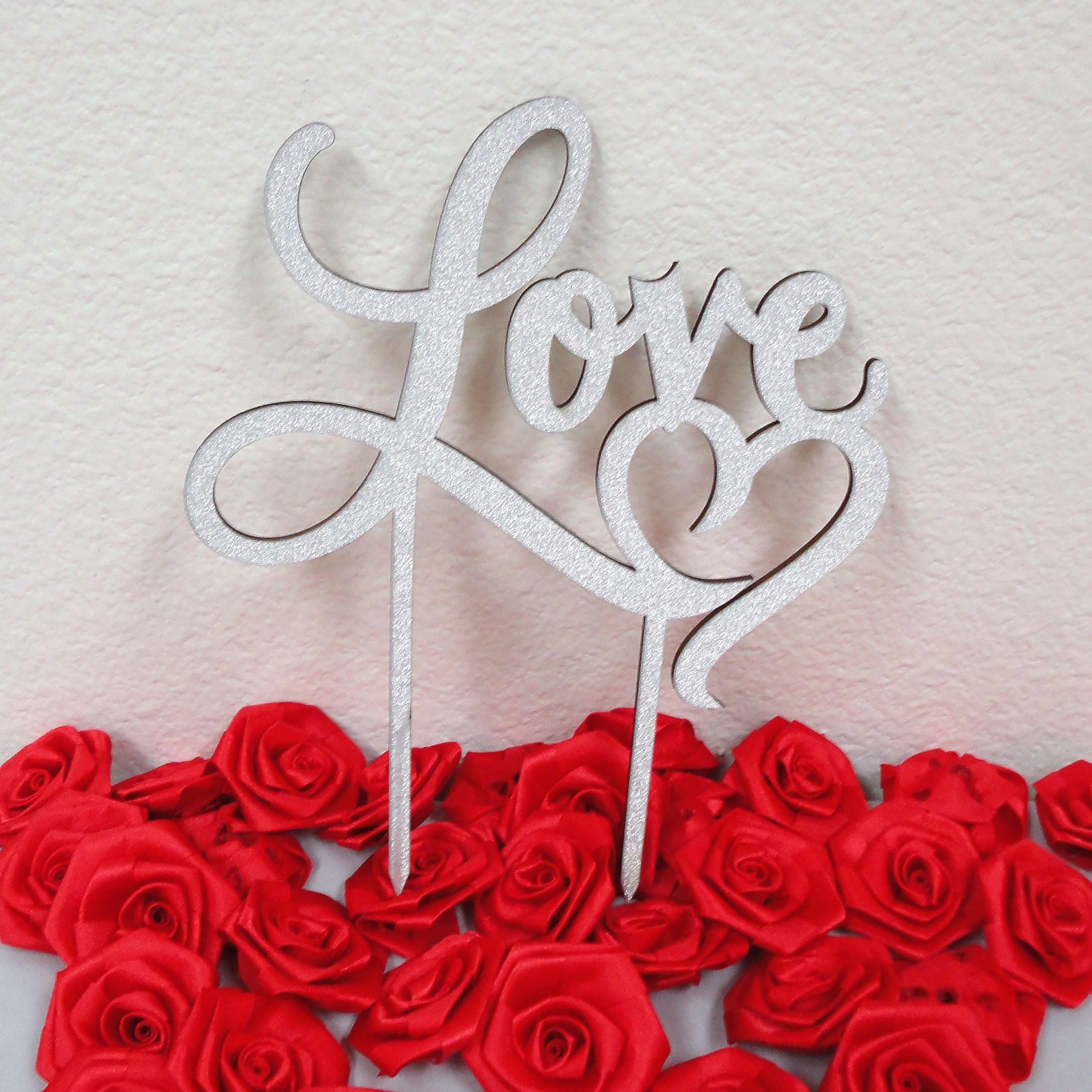 Charmed Love Heart Glittered Cake Topper; Silver