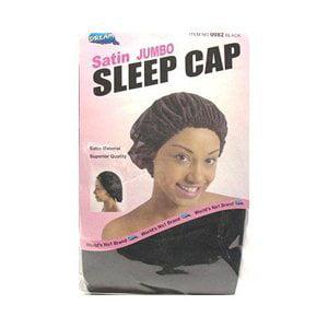 Dream Satin Sleep Cap Jumbo Black (Pack of 12) #0082