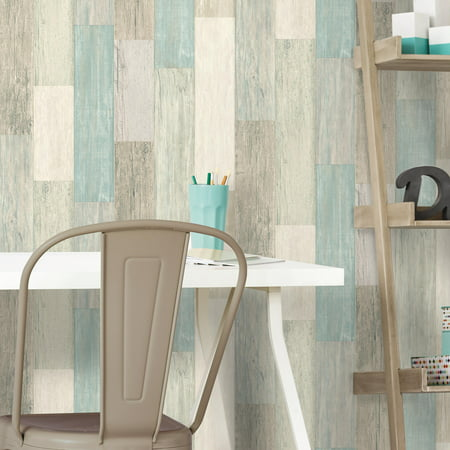 RoomMates Coastal Weathered Plank Peel & Stick Wallpaper