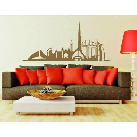 dubai city skyline wall decal - wall sticker, vinyl wall art, home