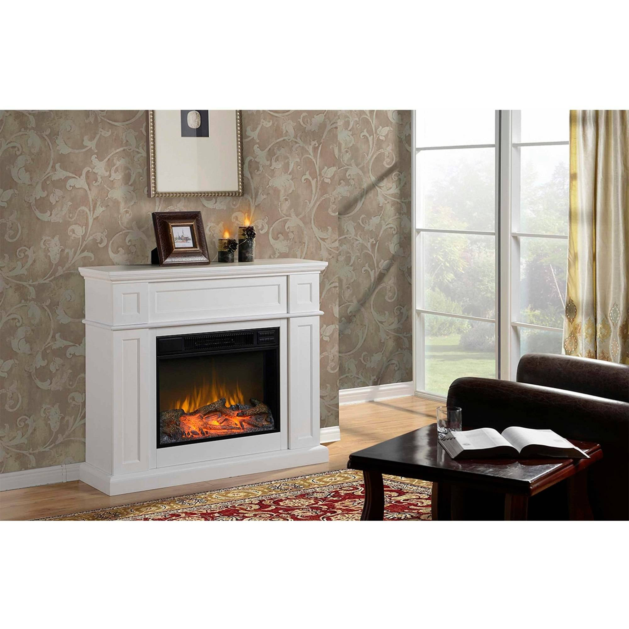 "Flamelux 41"" Wide Electric Fireplace Mantel, White Finish"
