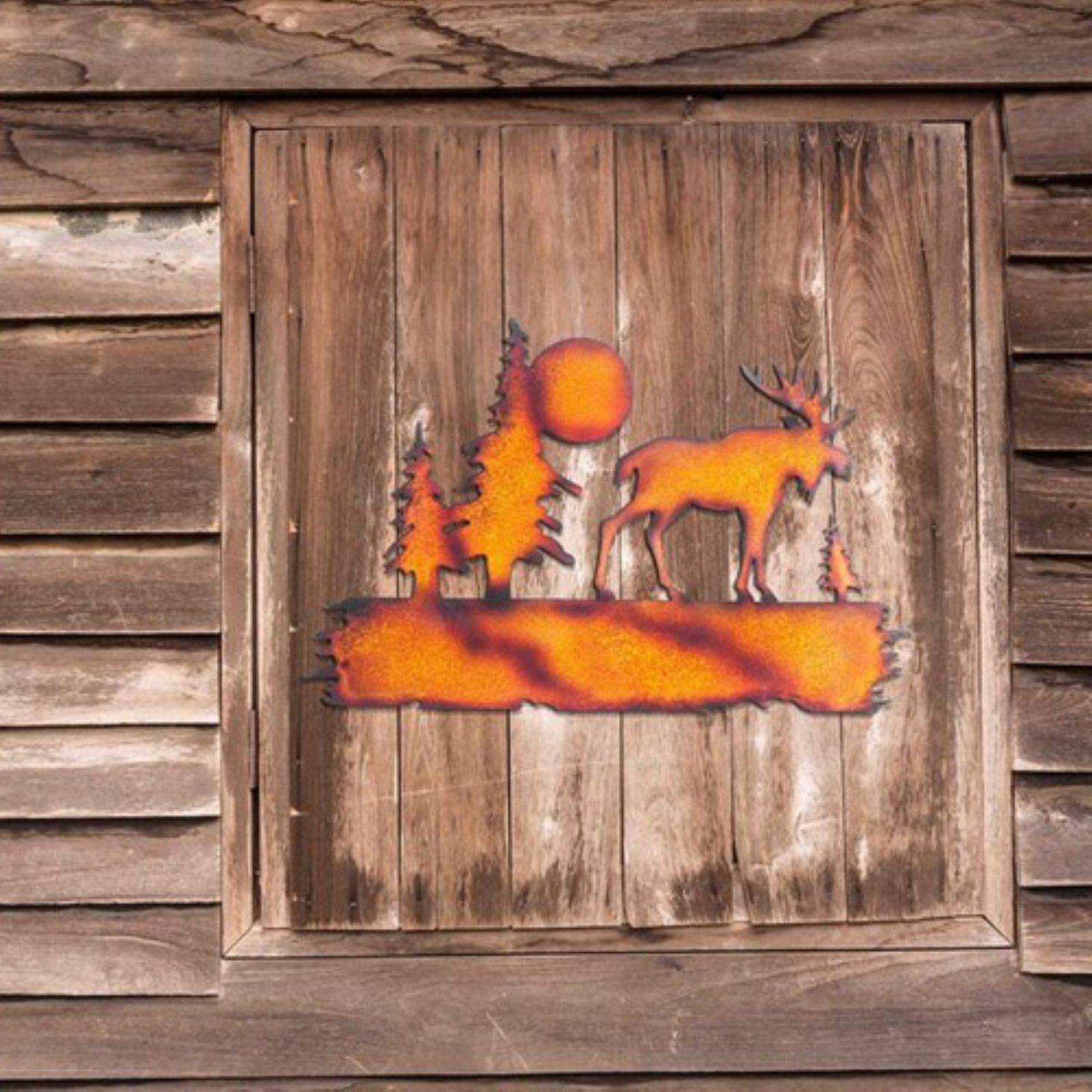 "Sunjoy 110311025 Moose Laser-Cut Metal Wall Decor, Rust Finish, 25"""